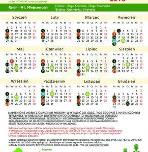 Harmonogram wywozu odpadów komunalnych w gminie Halinów 2018 strona 1